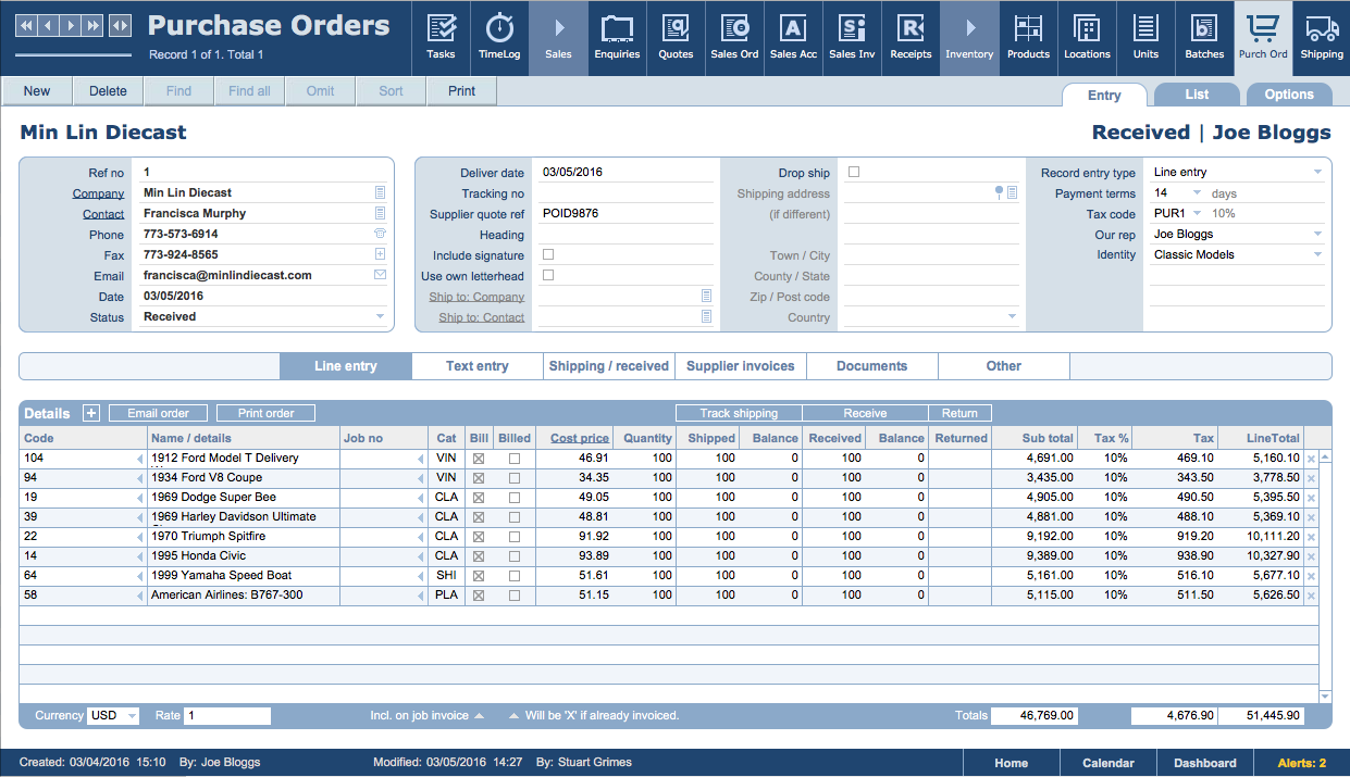 Purchase order entry view